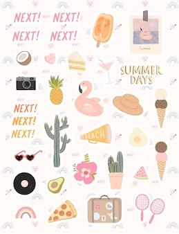 Duży zestaw stylowych elementów na temat czasu letniego. ręcznie rysowane elementy na letnie wakacje i imprezy.
