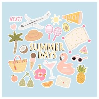 Duży zestaw stylowych elementów na temat plaży i letnich wakacji.