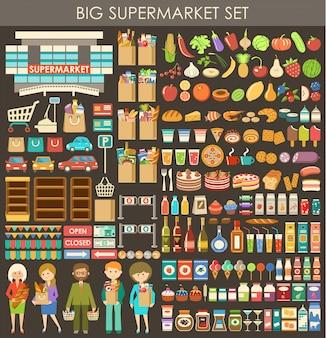 Duży zestaw supermarketów.