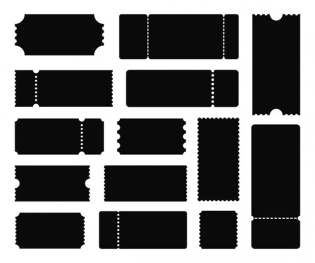 Duży zestaw szablonów biletów. czarny bilet. bilet na koncert, kupon. ilustracja.