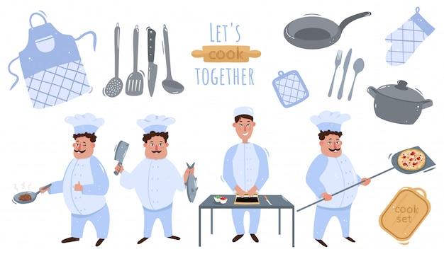 Duży zestaw szefa kuchni. gotuj smażony stek, nakłada nóż na rybę, wkłada pizzę do piekarnika. gotujmy razem! duży zestaw przyborów kuchennych