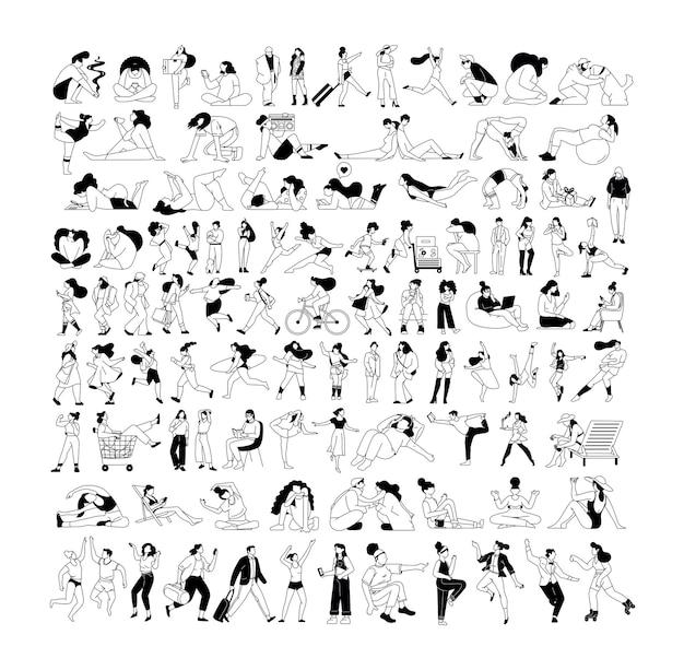 Duży zestaw szkiców ludzi z aktywnymi postaciami