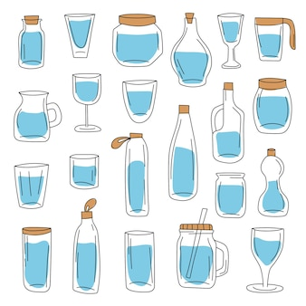 Duży zestaw szklanych pojemników i bidonów. ręcznie rysowane styl