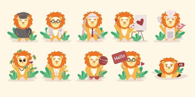 Duży zestaw uroczej postaci zwierzęcia lwa z różnymi czynnościami