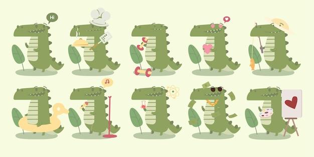 Duży zestaw uroczych postaci krokodyla z różnymi czynnościami