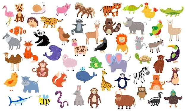 Duży zestaw uroczych zwierzątek. przedszkolne postacie do projektowania dla dzieci. ilustracja wektorowa