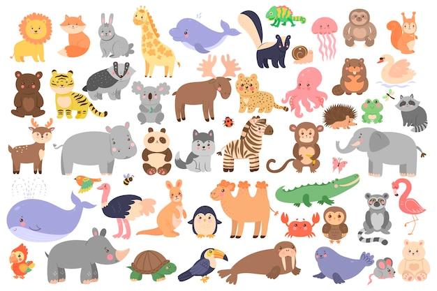 Duży zestaw uroczych zwierzątek w stylu cartoon na białym tle.