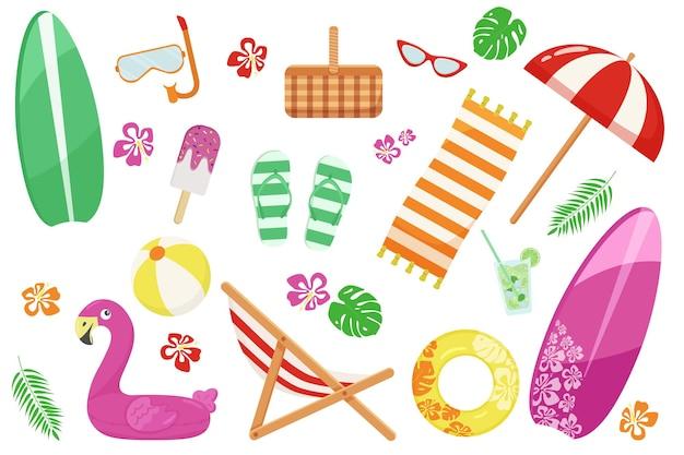 Duży zestaw w letnim motywie z przedmiotami plażowymi na białym tle