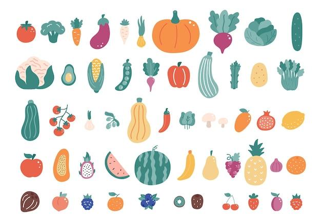 Duży zestaw warzyw i owoców. ręcznie rysowane zbiory żywności.