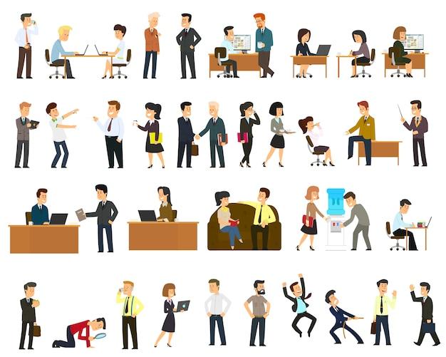 Duży zestaw wektor płaska konstrukcja postaci na biznesmena pracy i prezentacji procesu gesty, działania i pozy.