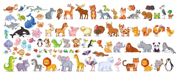Duży zestaw wektorowy ze zwierzętami w stylu kreskówki kolekcja wektorowa ze ssakami