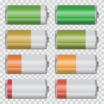 Duży zestaw wskaźników naładowania baterii na przezroczystym