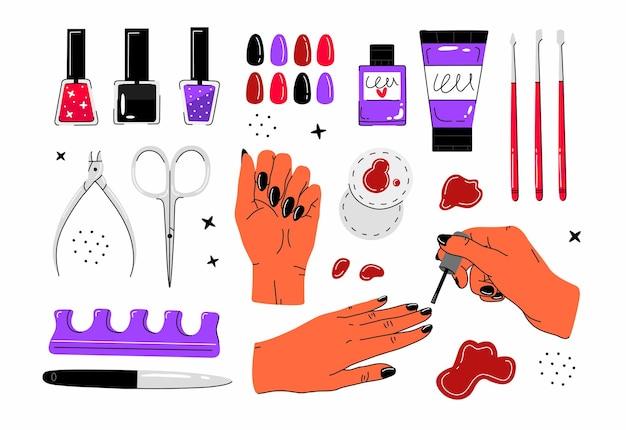 Duży zestaw z akcesoriami do manicure i pedicure w stylu cartoon