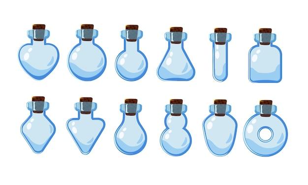 Duży zestaw z różnymi pustymi butelkami