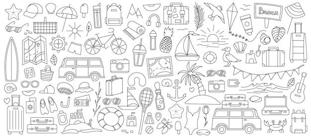 Duży zestaw z rzeczami do podróży w góry i nad morze. zestaw rzeczy podróży na wakacjach. letnia kolekcja. ikona linii wektor. obrys edytowalny. styl bazgroły.