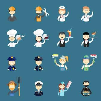 Duży zestaw zabawnych awatarów profesjonalnych ludzi z lekarzem pielęgniarką architektem budowniczym kucharzem gotującym wodą kelnerką policjantem malarzem pilotem ksiądzem stewardessą i rolnikiem