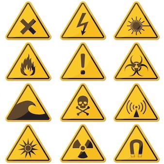 Duży zestaw zagrożenia żółty znak z cieniem