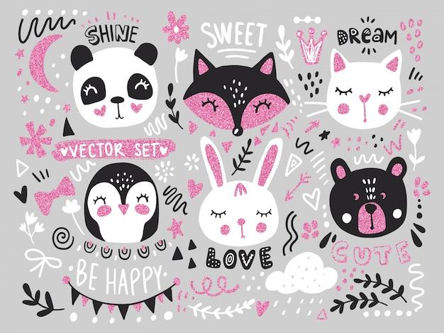 Duży zestaw ze słodkimi kreskówkowymi zwierzętami: misiem, pandą, króliczkiem, pingwinem, kotem, lisem