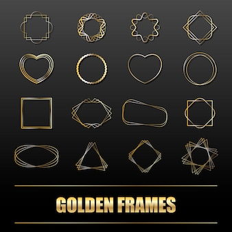 Duży zestaw złotych metalowych ramek