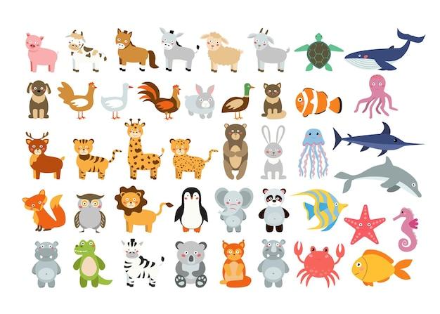 Duży Zestaw Zwierzątek Dla Dzieci. Słodkie Ilustracje Z Kreskówek Premium Wektorów