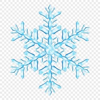 Duży złożony przezroczysty płatek śniegu boże narodzenie w jasnoniebieskich kolorach, na przezroczystym tle. przezroczystość tylko w formacie wektorowym