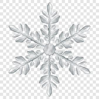 Duży złożony przezroczysty płatek śniegu boże narodzenie w szarych kolorach do użytku na jasnym tle. przezroczystość tylko w formacie wektorowym