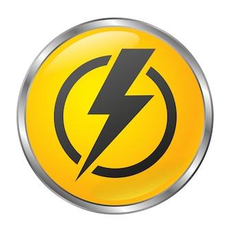 Duży żółty przycisk wyłączania zasilania na białym tle. izolowany obiekt. styl 3d.