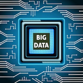 Dużych dane mikroukładu komputeru elektroniki jednostki centralnej tła wektoru ilustracja