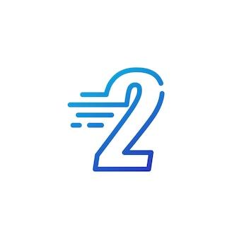 Dwa 2 numery kreska szybko szybki cyfrowy znak zarys linii logo wektor ikona ilustracja