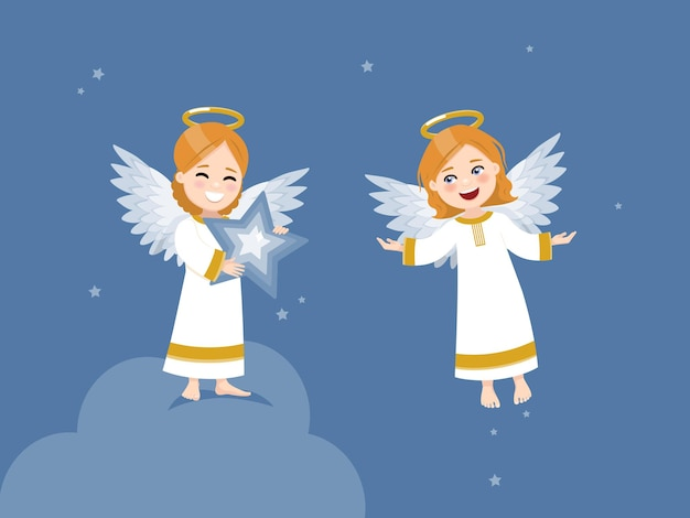 Dwa anioły z gwiazdą i latające po niebie z gwiazdami.