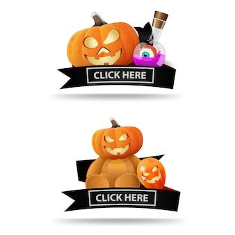 Dwa banery na halloween z czarnymi wstążkami i dyniami jack