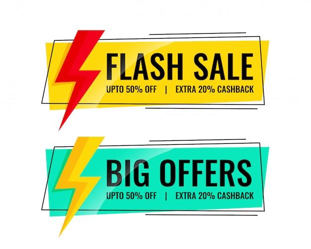 Dwa banery sprzedaży ze szczegółami oferty