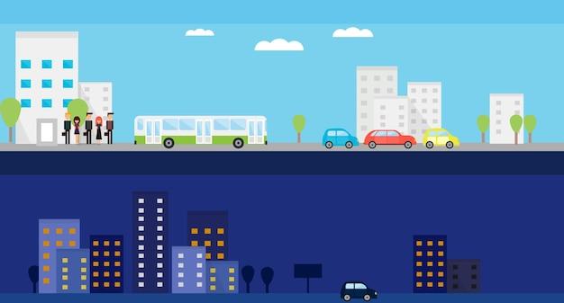 Dwa banery z dziennym i nocnym życiem miasta. płaskie ilustracji wektorowych z ludźmi, autobusami, samochodami i drzewami.