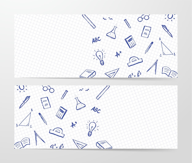 Dwa banery z ręcznie rysowane zestaw dostaw doddles na arkuszu