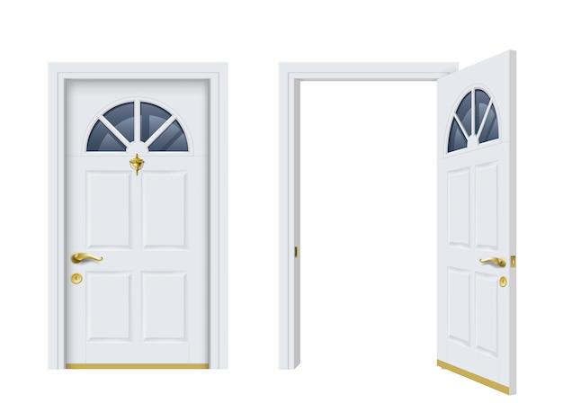 Dwa białe klasyczne drzwi otwarte i zamknięte.