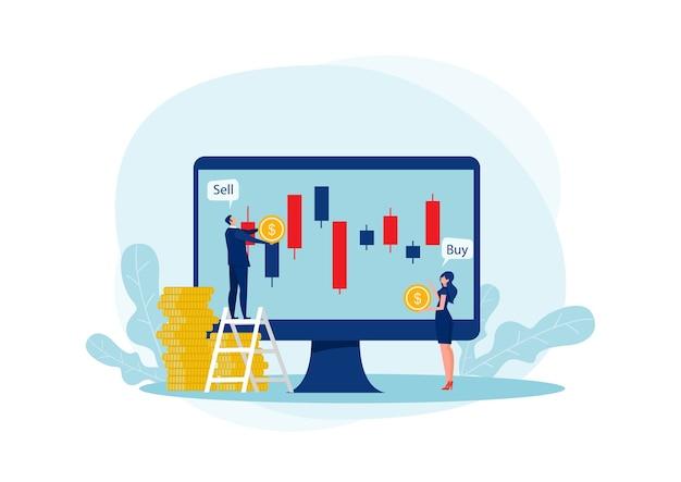 Dwa biznes przedsiębiorca i biznes wykres świecznikowy z przyciskami kupna i sprzedaży na niebieskim tle