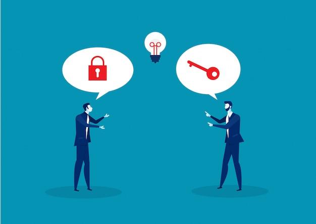 Dwa biznes rozwiązuje wpisywać sukcesu pojęcia wektor