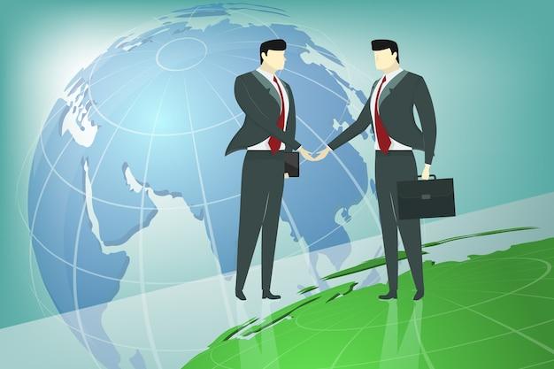Dwa biznesowego mężczyzna uścisk dłoni z światowej mapy tłem