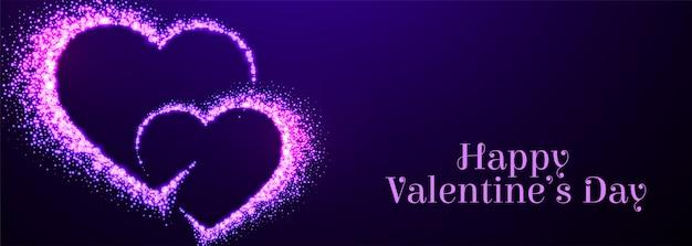 Dwa Błyszczą Purpurowe Serca Na Walentynki Darmowych Wektorów