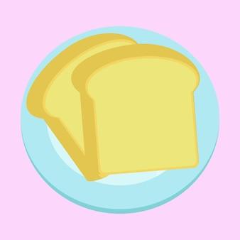 Dwa bochenki tostów na talerzu projekt wektorowy