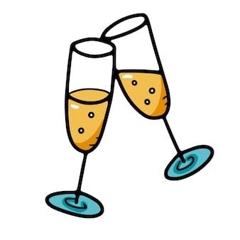 Dwa brzęczące świąteczne kieliszki do szampana w stylu doodle