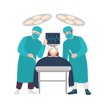 Dwa chirurga lub lekarza trzyma skalpele wykonuje chirurgicznie operację na łgarskim pacjencie odizolowywającym na białym tle. chirurgia, procedura medyczna. barwiona kreskówki ilustracja w mieszkanie stylu