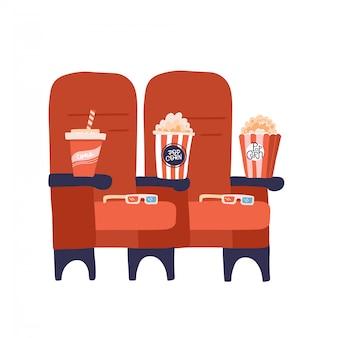 Dwa czerwone fotele kinowe z popcornowymi napojami i szklankami. płaska ilustracja.