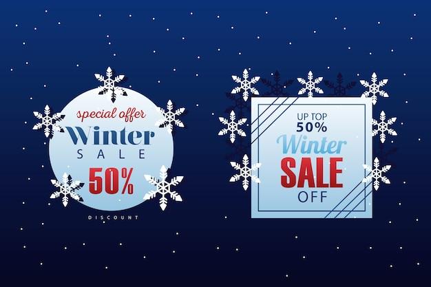 Dwa duże napisy sprzedaży zimowej z projektem ilustracji płatki śniegu