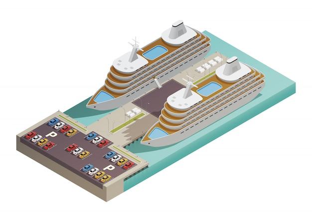 Dwa duże nowoczesne statki wycieczkowe