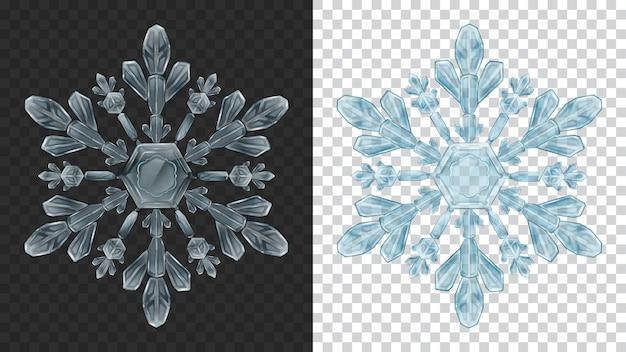 Dwa duże złożone przezroczyste świąteczne płatki śniegu w jasnoniebieskich kolorach do wykorzystania na ciemnym i jasnym tle. przezroczystość tylko w formacie wektorowym