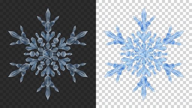 Dwa duże złożone przezroczyste świąteczne płatki śniegu w kolorach niebieskim do wykorzystania na ciemnym i jasnym tle. przezroczystość tylko w formacie wektorowym