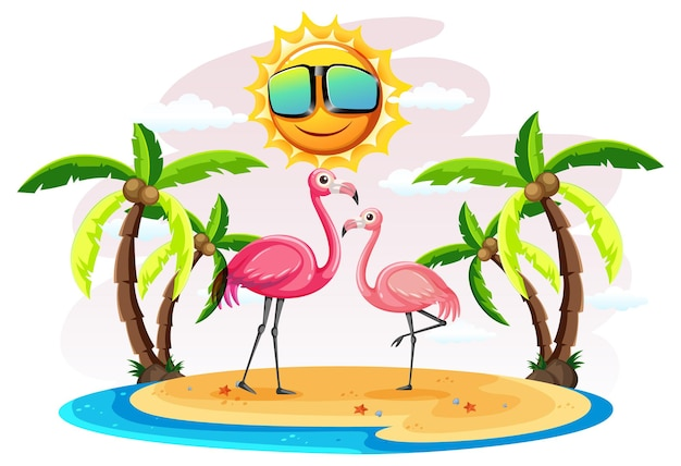 Dwa flamingi na wyspie na białym tle