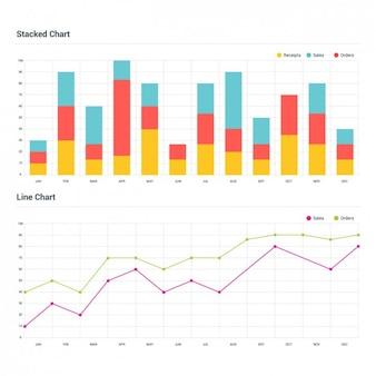 Dwa infographic wykresy