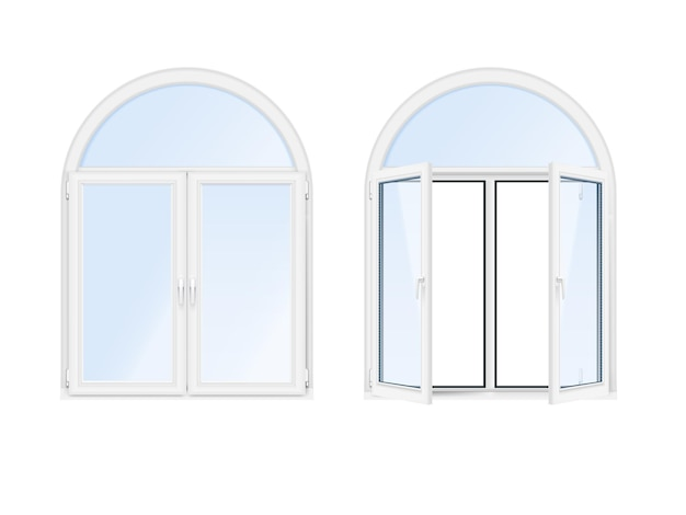 Dwa izolowane i realistyczne okna łukowe